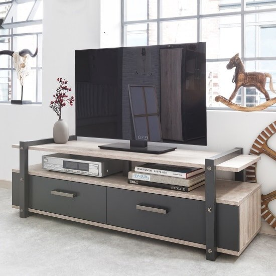 Andora Wooden TV Stand In Sorrento Oak And Anthracite_1