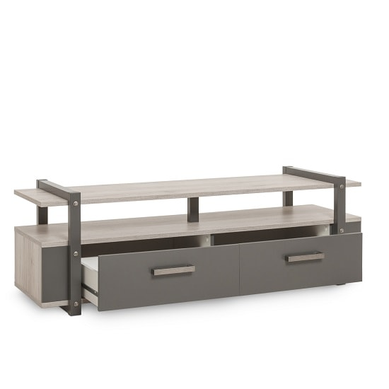 Andora Wooden TV Stand In Sorrento Oak And Anthracite_4