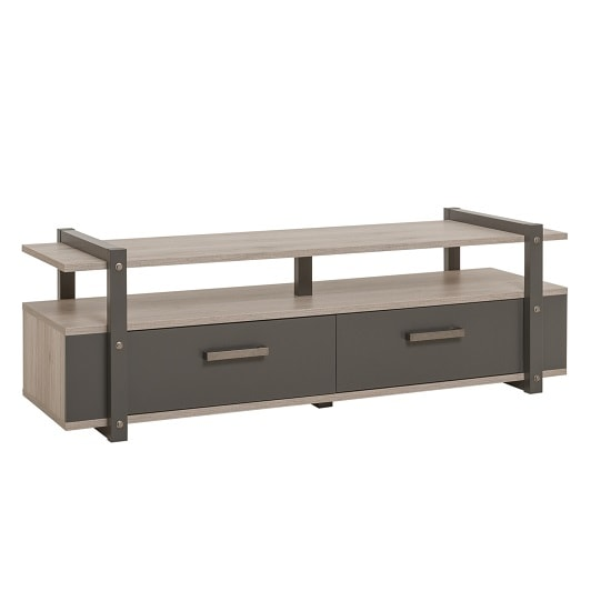 Andora Wooden TV Stand In Sorrento Oak And Anthracite_3