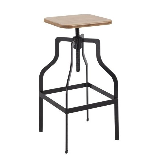 Andora Bar Stool In Black With Wooden Seat