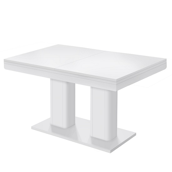 Andorra Wooden Extendable Dining Table Rectangular In White