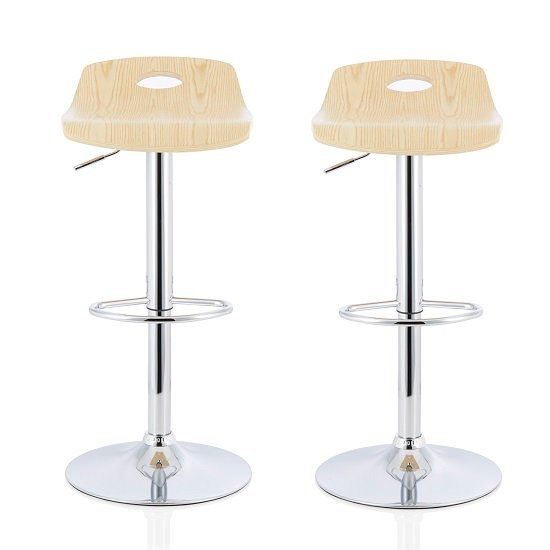 Andover Bar Stools In Oak Veneer With Chrome Base In A Pair