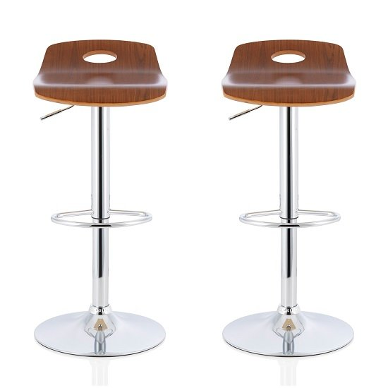Andover Bar Stools In Walnut Veneer With Chrome Base In A Pair