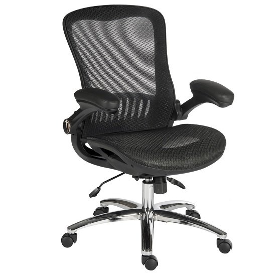 Andrea Luxurious Executive Chair In Black Mesh With Castors_2