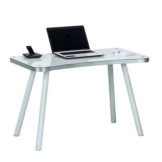 Andrea Computer Desk Rectangular In White Glass And Aluminium
