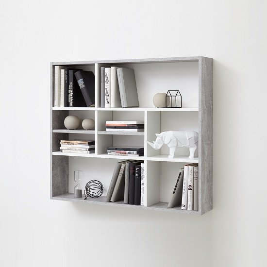 andreas wall mounted shelving unit in white and light. Black Bedroom Furniture Sets. Home Design Ideas