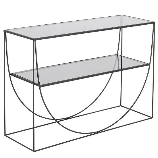 Andrew Glass Console Table With Metal Frame And Undershelf