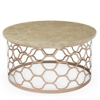 Andria Coffee Table Round In Marble Effect Top And Rose Gold