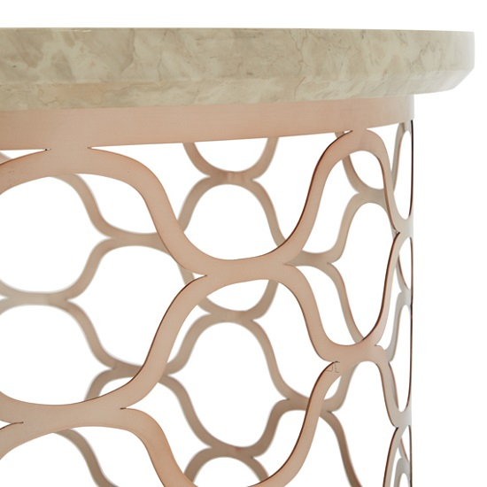 Marble Effect Coffee Table: Andria Coffee Table Round In Marble Effect Top And Rose