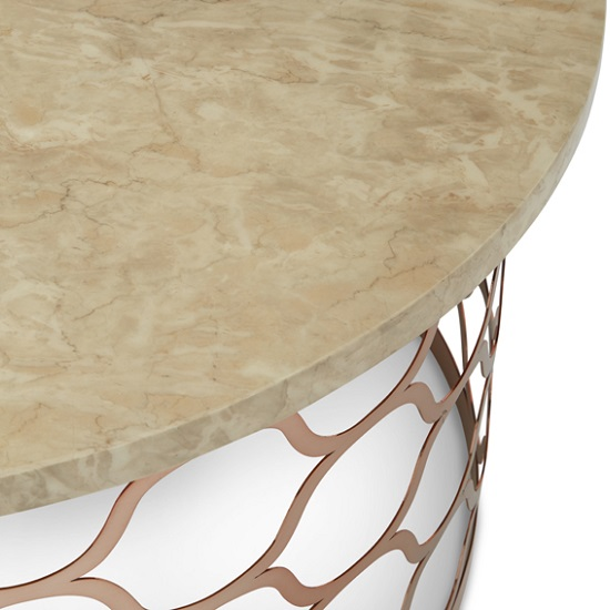 Marble Effect Coffee Table Uk: Andria Coffee Table Round In Marble Effect Top And Rose