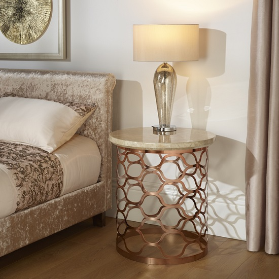 Andria Lamp Table Round In Marble Effect Top And Rose Gold