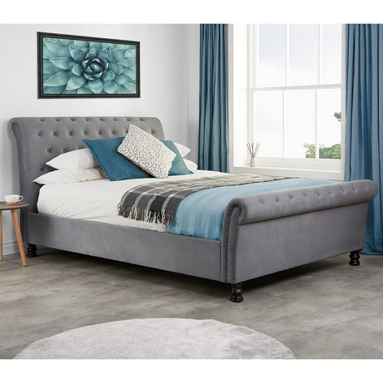 Andriana Fabric King Size Bed In Grey Velvet With Wooden Feet_1