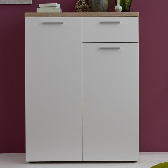 Anette Compact Sideboard In White And Oak With And 2 Doors