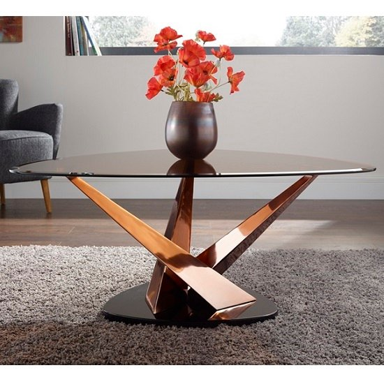 Angela Glass Coffee Table In Smoke With Rose Gold Frame