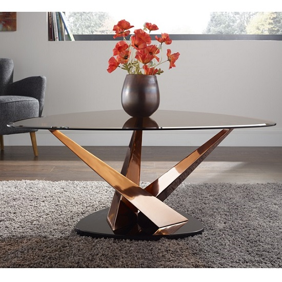 Angela Glass Coffee Table In Smoke With Rose Gold Frame - Angela coffee table