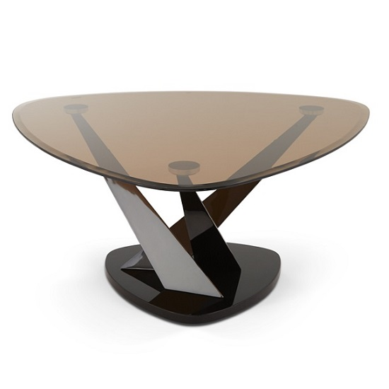 Angela Coffee Table In Smoke Glass And Black Nickel