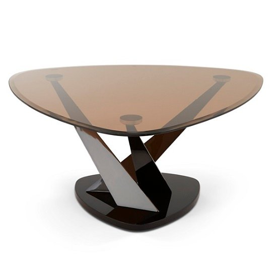 Angela Coffee Table In Smoke Glass And Black Nickel - Angela coffee table