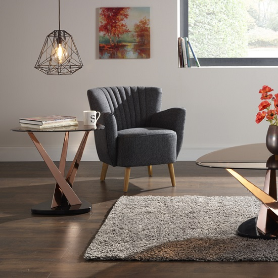 Angela Glass Lamp Table In Smoke With Rose Gold Frame_2