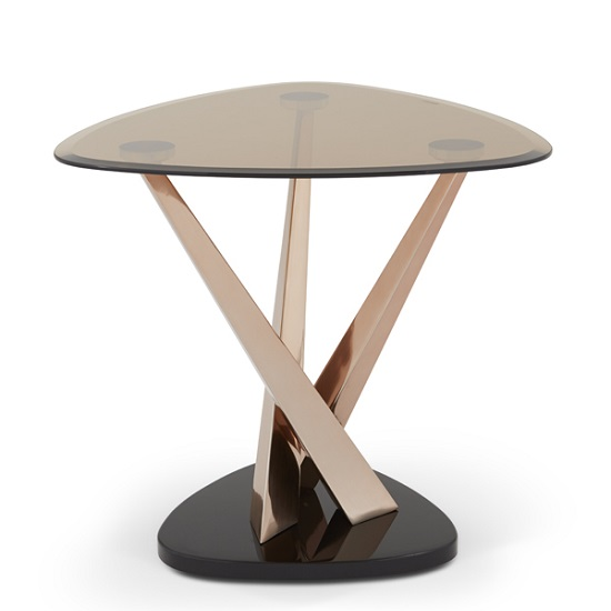 Angela Glass Lamp Table In Smoke With Rose Gold Frame