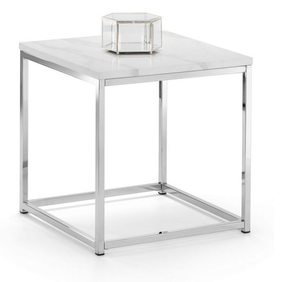 Angeles Gloss White Marble Effect Lamp Table With Steel Frame