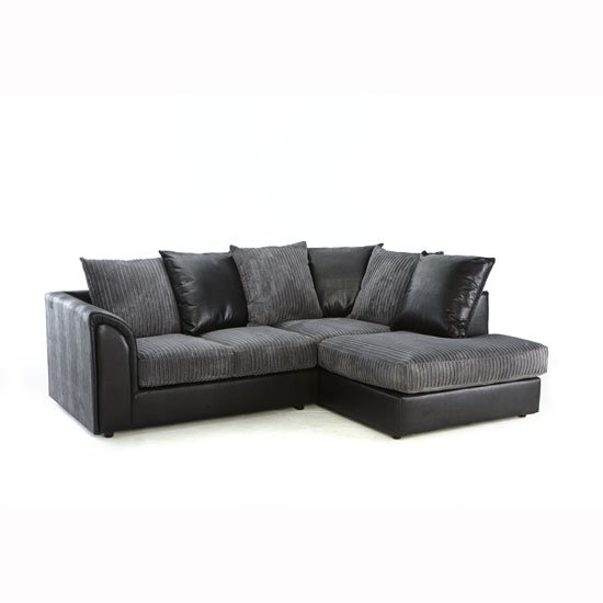 Angelic Corner Sofa In Black Faux Leather And Grey Fabric