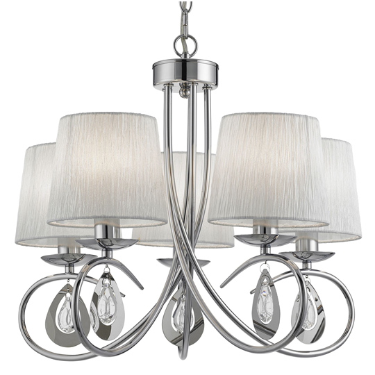 Angelique Chandeliers 5 Light With Pleated Shade Ceiling Light