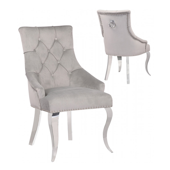 Angelo Silver Velvet Dining Chairs In Pair