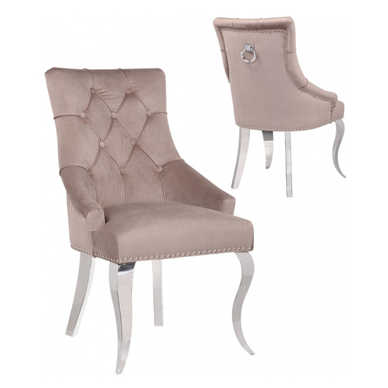 Angelo Taupe Velvet Dining Chairs In Pair