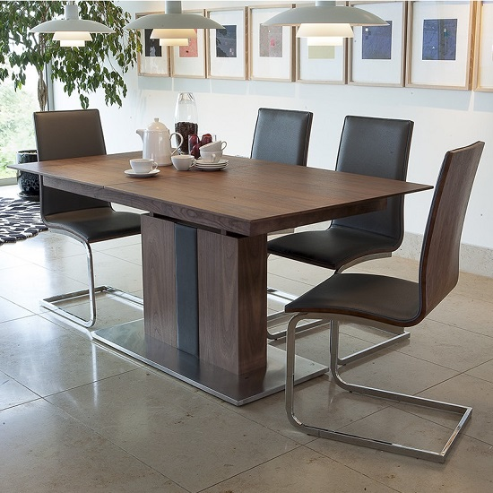 Angelo Extendable Dining Table In Walnut With 4 Dining