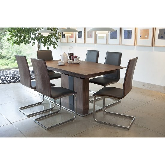Angelo Extendable Dining Table In Walnut With 6 Dining Chairs