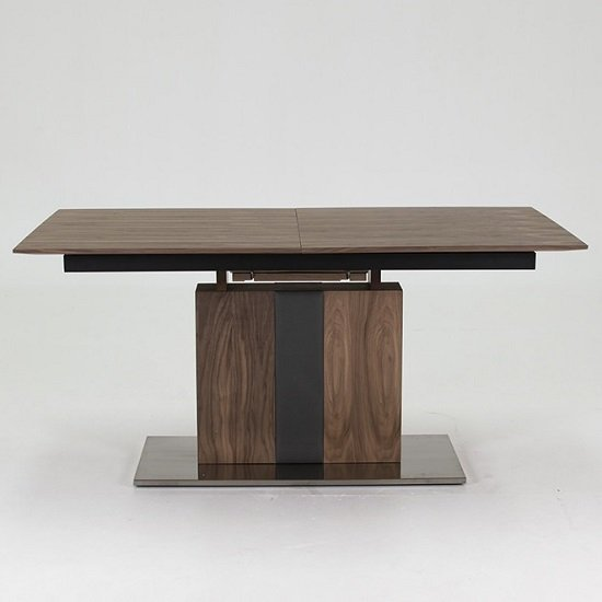 Angelo Extendable Dining Table Rectangular In Walnut And Grey PU