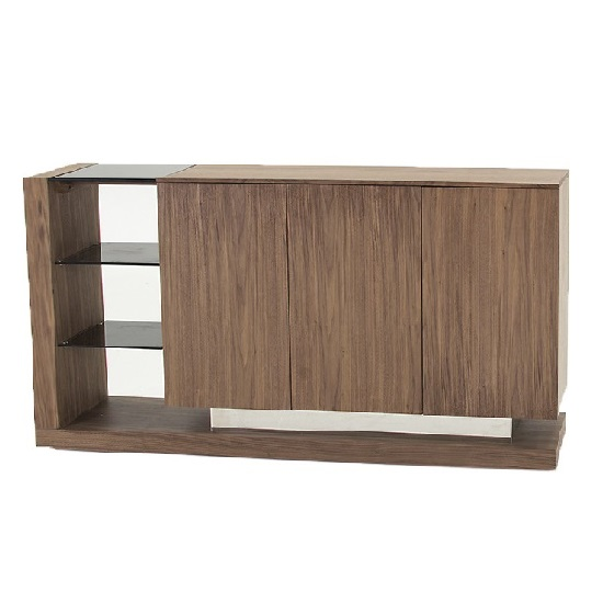 Angelo Wooden Sideboard In Walnut And Grey Wiith 3 Doors