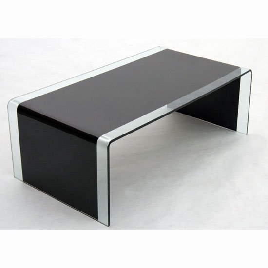 Angola black and clear bent glass coffee table 10339 Black coffee table with glass