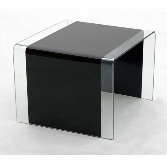 Black Glass Lamp Tables: Angola Bent Glass Side table In Black And Clear Glass,Lighting