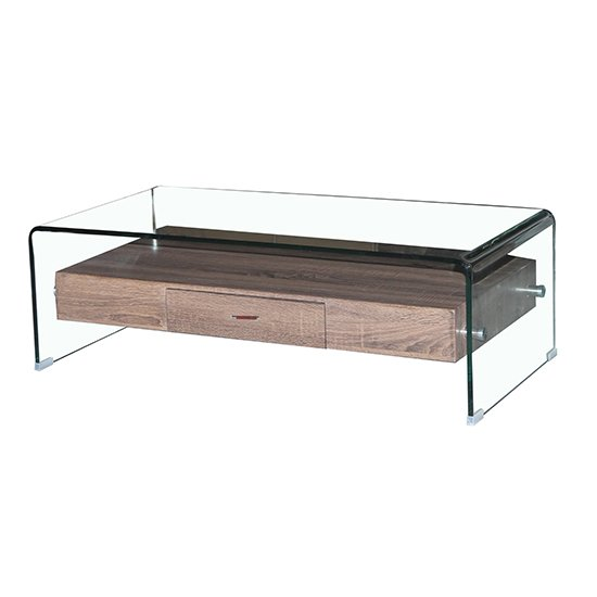 Angola Clear Glass Coffee Table With Wooden Drawer