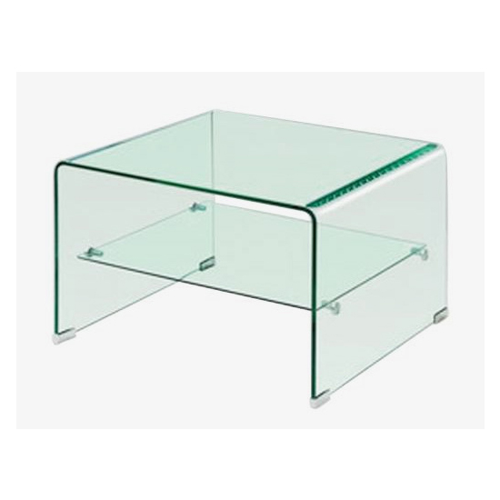 Angola Clear Glass Lamp Table With Shelf