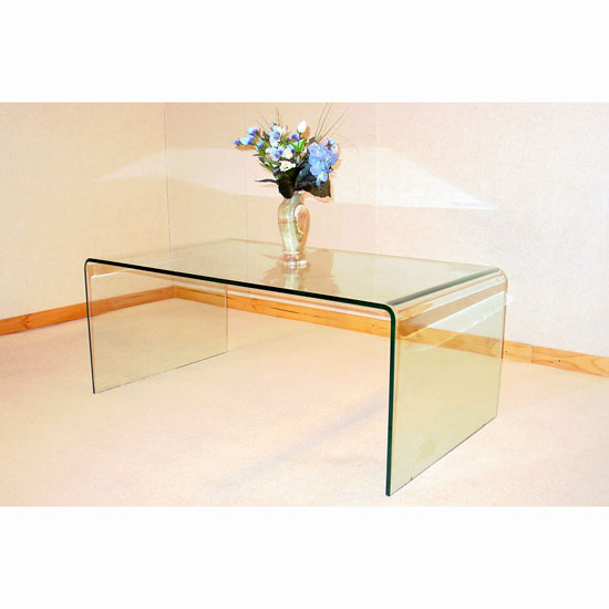 Angola Bent Clear Glass Coffee Table