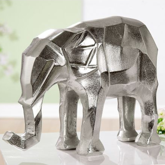 Angular Aluminium Elephant Sculpture In Silver
