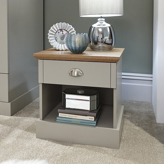 Angus Bedside Table In Soft Grey With Oak Effect Top