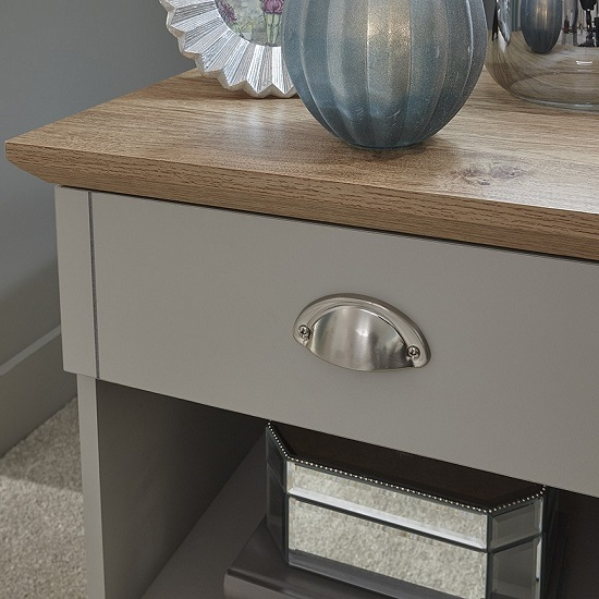 Ervin Bedside Table In Soft Grey With Oak Effect Top_2