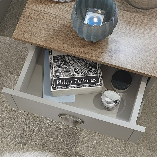 Ervin Bedside Table In Soft Grey With Oak Effect Top_3