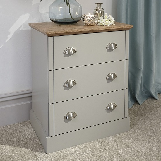 Ervin Small Chest Of Drawers In Soft Grey With Oak Effect Top_1