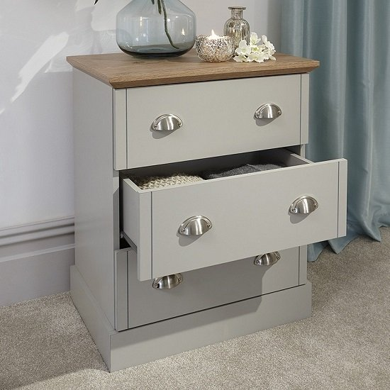Ervin Small Chest Of Drawers In Soft Grey With Oak Effect Top_2