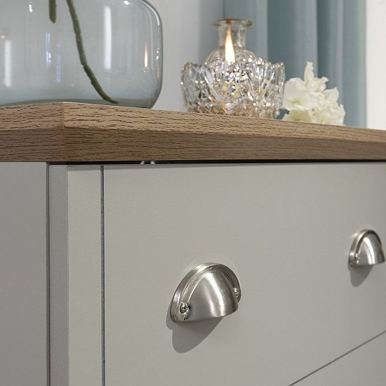 Ervin Small Chest Of Drawers In Soft Grey With Oak Effect Top_4