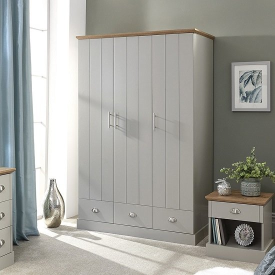Angus Wide Wardrobe In Soft Grey With Oak Effect Top