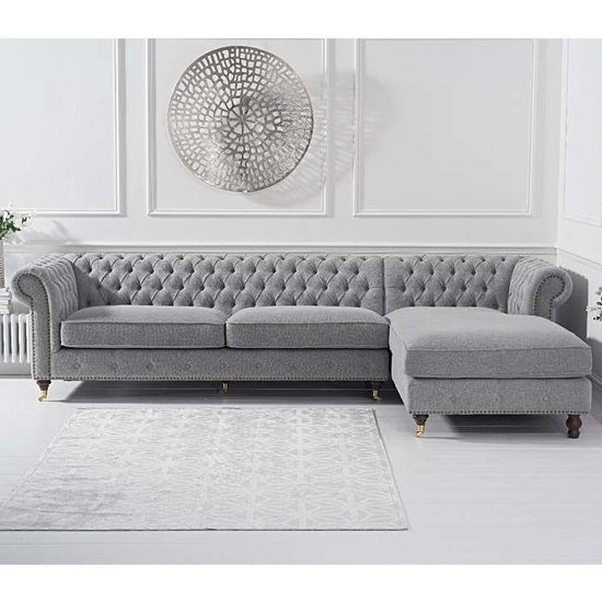 Nesta Linen Fabric Right Facing Chaise Sofa Bed In Grey_2