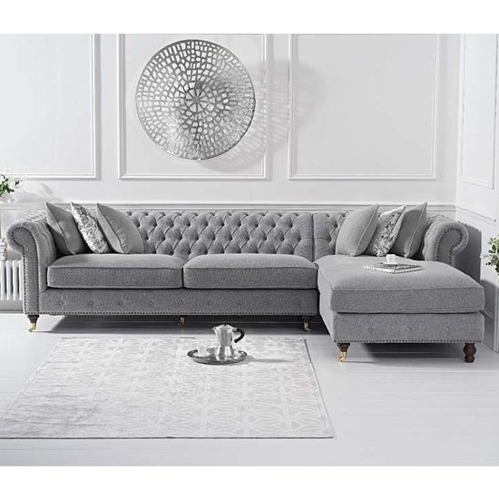 Nesta Linen Fabric Right Facing Chaise Sofa Bed In Grey_1