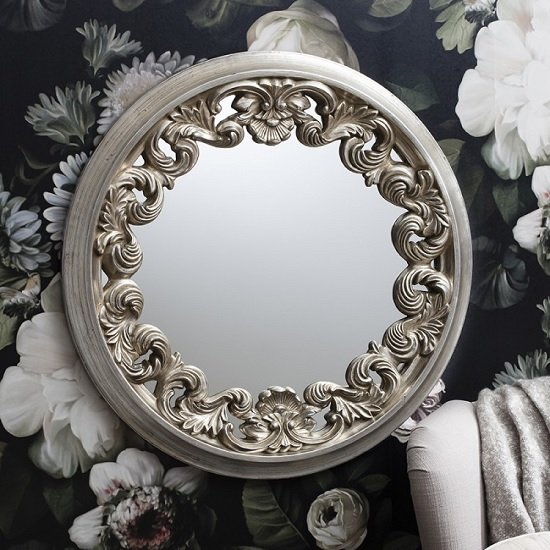 Anna Wall Mirror Round In Silver With Ornate Frame