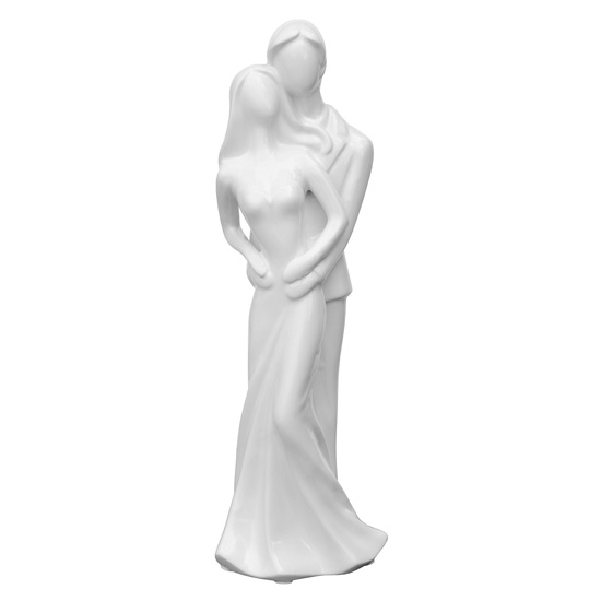 Product photograph showing Ankaa Ceramic Wedding Couple Figurine In White