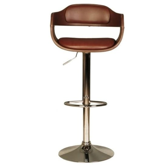Anna Faux Leather Bar Stool In Brown With Chrome Base_1
